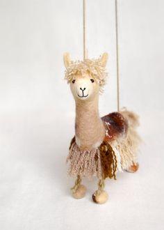 Alpaca marionette, via Etsy.