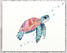 Turtle Print Wall Canvas, Free Standing Turtle Print, Sea Turtle On Canvas, Sea Turtle Print On Canv Jellyfish Drawing, Jellyfish Painting, Watercolor Jellyfish, Jellyfish Tattoo, Jellyfish Quotes, Jellyfish Facts, Jellyfish Tank, Jellyfish Aquarium, Aquarium Fish