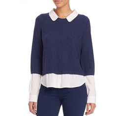 Joie Thevenette Layered Long-Sleeve Sweater (5,695 MXN) ❤ liked on Polyvore featuring tops, sweaters, apparel & accessories, long sleeve crop sweater, long sleeve pullover sweater, blue crew neck sweater, crew neck pullover sweater and blue cropped sweater