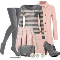 Grey tights, sweater, pink trench coat, skirt, handbag and grey high heels Mode Outfits, Casual Outfits, Fashion Outfits, Womens Fashion, School Outfits, Cute Fashion, Look Fashion, Winter Fashion, Trendy Fashion