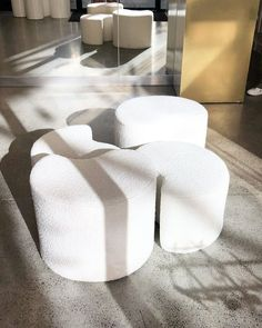 """Shelley Ferguson Studio on Instagram: """"We installed these curved white boucle ottomans in @kwfootwear stores for lots of lovely ladies bottoms to perch on while trying their…"""""""