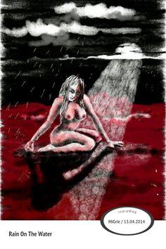 girl in rain on the water