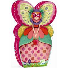 Puzzel vlindermeisje, Djeco Puzzelen voor meisjes vanaf 4 jaar. Dit vlindermeisje viert feest met haar vrienden en vriendinnen! Deze puzzel van Djeco wordt geleverd in een prachtige contourbox. #djeco #puzzel #vlindermeisje #kinderpuzzel