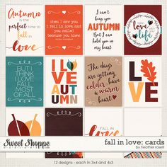 Fall in Love: Cards by Heather Roselli at Sweet Shoppe Designs