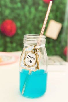 Don't miss this beautiful Alice in Wonderland birthday party! The drinks are magical! See more party ideas and share yours at CatchMyParty.com   #catchmyparty #partyideas #aliceinwonderland #drinks #aliceinwonderlandparty #disneyparty