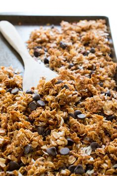 5 Ingredient Coconut Pecan Chocolate Chip Granola. Great for breakfast or as a snack. So much better than store-bought! | #snack #breakfast #recipe #granola #coconut