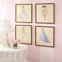 Pictures from a vintage Barbie calendar.  Part of Ave's big girl shabby chic room.