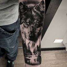 42 Fabulous Wolf Tattoo Design Ideas Suitable For Anyone Loves Spirit Animal - Wolf Tattoos - Animals Wolf Tattoos Men, Leg Tattoos, Body Art Tattoos, Tattoos For Guys, Tatoos, Animal Tattoos For Men, Celtic Tattoos, Wolf Sleeve, Wolf Tattoo Sleeve