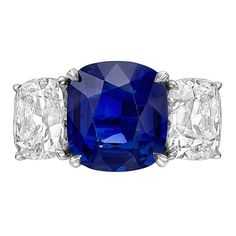 5.98 Carat Kashmir Sapphire Diamond Ring | From a unique collection of vintage three-stone rings at https://www.1stdibs.com/jewelry/rings/three-stone-rings/