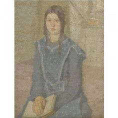 Gwen John (British, working in France, 1876 – 1939), Portrait of a Girl, ca. 1918 – 1920. Oil on canvas 34 x 26.5 cm. Private collection. (ex. Coll. Evill/Frost, sold at Sotheby's, 2011.)