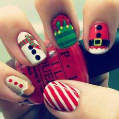 Easy to do Christmas Characters nail design.