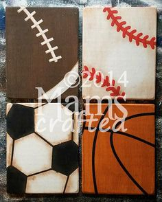 Baseball, football, soccer, basketball . . . well-loved by boys (and girls!) the world over. This listing is for all four Vintage Sports pieces, a