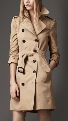 Trench coat médio em gabardine de algodão | Burberry