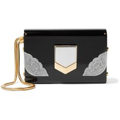 Jimmy Choo Lockett small embellished acrylic clutch (996.605 CRC) ❤ liked on Polyvore featuring bags, handbags, clutches, black, wristlet clutches, acrylic purse, embellished handbags, lucite handbags and acrylic handbag