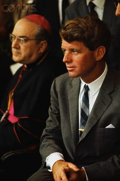 Robert Kennedy Sitting with Cardinal Robert Kennedy sitting with a Roman Catholic cardinal during his tour of South America.  Date Photographed:01 November 1965