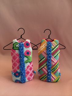 Lilly Pulitzer Dress Ornaments ~ Canvases by Barbara Bergsten.  Love how the stitcher created the middle ribbon/beads.