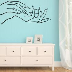 LH646 Free Shipping Nail Hands Art Beauty Shop Store Business Wall Art Stickers Decal DIY Home Decoration Wall Mural Removable
