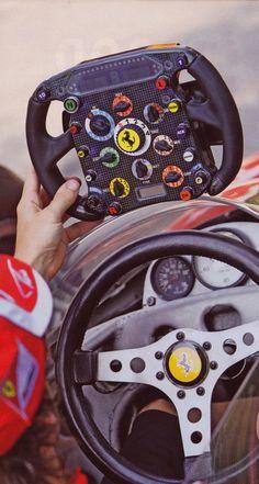 Ferrari racing steering wheel then and now.