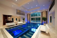 Contemporary Swimming Pool with Pool with hot tub, Indoor pool, sliding glass door, Deck Railing
