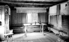 Authentic interior from a medieval summer farm in Sollerön, Mora, Sweden.
