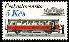 Stamp: Locomotives and Streetcars - M (Czechoslovakia) (Czechoslovakia Rolling Stock) Mi:CS 2767 Postage Stamp Art, Rolling Stock, Locomotive, History, Socialism, Czech Republic, Retro, Postage Stamps, Trains