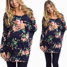 Long Sleeve Floral Maternity Blouse