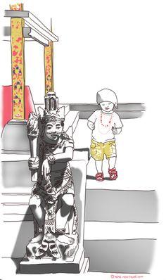le croquis du mercredi par mémé moustache :  danseuse balinaise. Voyager avec des enfants à Bali sur lesparentsvoyageurs.com. illustration. dessin