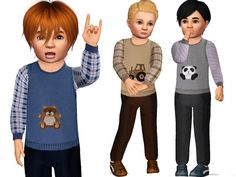 Cute Toddler Pants with Sweater Vest by Wimmie - Sims 3 Downloads CC Caboodle