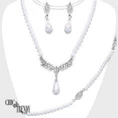 """3 PC"" WHITE PEARL, CRYSTAL PROM BRIDE WEDDING FORMAL NECKLACE JEWELRY SET CHIC"