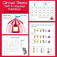 Circus themed math and language printables - fun learning activities to tie in with a circus theme for children. #ece #preschool #kindergarten