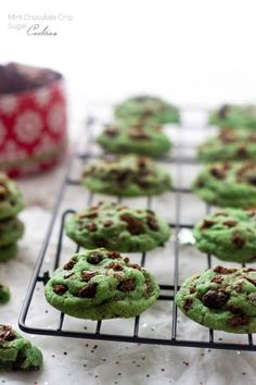 Mint Chocolate Chip Sugar Cookies - The BIGGEST and SOFTEST sugar cookies you will ever make! Perfect for Christmas baking! Chewy Sugar Cookie Recipe, Soft Sugar Cookies, Mint Chocolate Chip Cookies, Chocolate Chip Oatmeal, Chocolate Desserts, Christmas Baking, Christmas Cookies, Christmas Recipes, Christmas Sweets