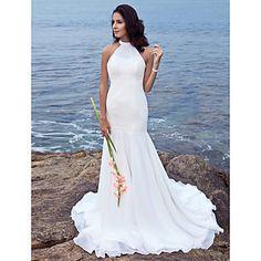 Trumpet/ Mermaid Halter Sweep/ Brush Train Chiffon Wedding Dress – US$ 179.99