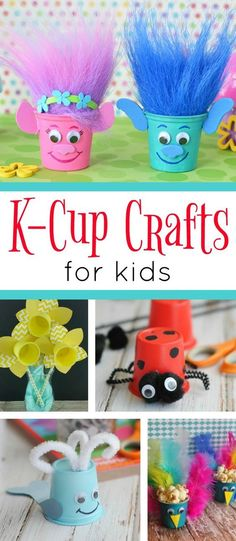 A fun collection of K-Cup Crafts for kids. These cute and easy craft projects are a great way to keep kids occupied while recycling Keurig K-cups. #artsandcraftssurely,