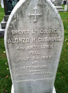 151 years after death at Gettysburg, soldier finally gets Medal of Honor - News - Stripes. Gravestone of Civil War hero 1st Lt. Alonzo Cushing on grounds of West Point Military Academy in West Point, N.Y.