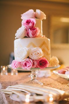 pink rose and gold wedding cake. Photography By / http://rebecca-arthurs.com,Planning And Design By / http://pacificaisles.com