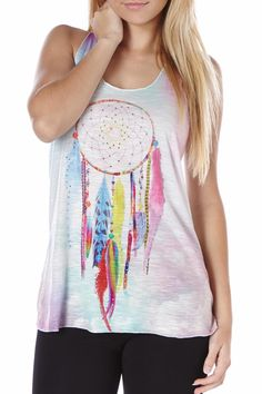 Rhinestone embellished dream catcher graphic, slub knit, racerback tank top. Cutest racer back tank top to wear on weekends and just with a pair of jeans and flipflops.   Dreamcatcher Rhinestone Racerback by Bear Dance. Clothing - Tops - Tees & Tanks Miami, Florida