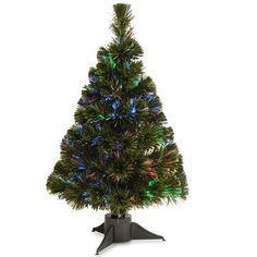 "Fiber Optic Christmas Tree 24"" Multicolor LED Battery Operated Timer Decoration  #NationalTreeCompany"