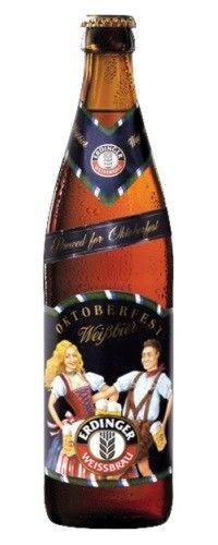 Cerveja Erdinger Weissbier Oktoberfest, estilo German Weizen, produzida por Erdinger Weissbräu, Alemanha. 5.7% ABV de álcool.