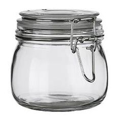 "SLOM jar with lid, clear glass Diameter: 4 "" Height: 4 "" Volume: 17 oz Diameter: 11 cm Height: 10.5 cm Volume: 0.5 l"