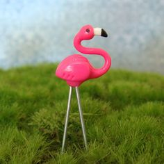 Too Sweet! Tiny Pink Lawn Flamingo on Wire Legs for fairy gardens, terrariums and potted plants, miniature clay