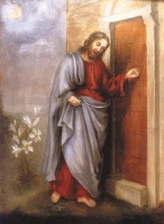 Jesus knocking at the door of our hearts; painted by St. Therese of Liseuix
