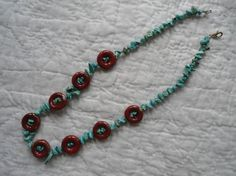 Green Turquoise and Red Carnelian Handmade Beaded by  $10.00 The Land of Bridget on Etsy and Facebook