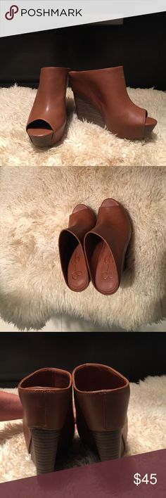 """Jessica Simpson Laurin Mule Leather open-toe wanton wedges perfect for any occasion, heel measure approximately 4.5"""", platform measures approximately 1.5"""", never worn but with a small scratch in front and a discoloration dot on top of one, both flaws barely noticeable, Jessica Simpson Shoes Wedges"""