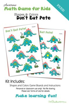 Colors and Shapes Don't Eat Pete Preschool Math Game   A fun way to learn! {OneCreativeMommy.com}