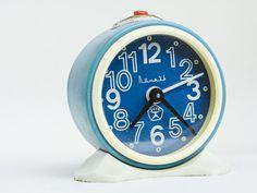 "Retro alarm clock ""Vityaz"" – vintage alarm clock – blue white soviet clock – round mechanical clock – russian ussr desk clock 70s"