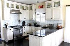Kitchen:Why White Small Kitchen Is Still Preferable This Time Amusing Small Kitchen Design With U Shape White Kitchen Cabinet And Black Kitchen Countertop Also White Curtain Decor Idea