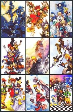 A little preview of the different cover art for the different KH games.