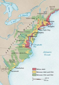 Growth of Colonial Settlement: European settlement began in the region around Chesapeake Bay and in the Northeast, then spread south and west into the Appalachian Mountains. Canadian History, Us History, History Facts, Ancient History, Family History, American History, Outlander, Map Geo, Old Maps