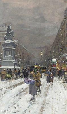 Eugène Galien-Laloue Paris in the Snow - Kategória: Festmények párizsi utcák Eugène Galien-Laloue - Wikimedia Commons