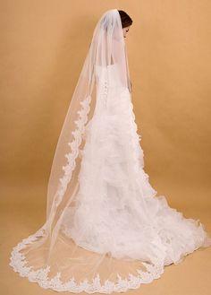 Ivory Chapel length Alencon Lace Wedding Veil, Tulle Blusher Veil,Single Layer floor length Veil with Comb hair headpiece
